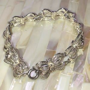 Antique Filigree 900 Fine Silver Bow Bracelet